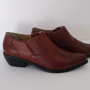 Dingo Brown Leather Western Ankle Boot- Size 8 1/2